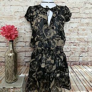 Black &Tan Floral Midi Dress sz S